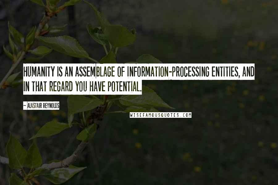 Alastair Reynolds quotes: Humanity is an assemblage of information-processing entities, and in that regard you have potential.