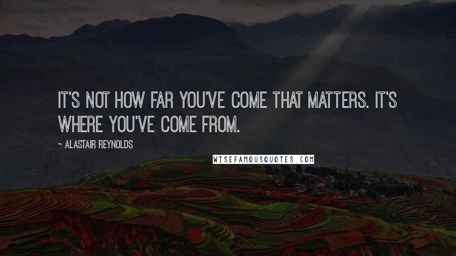 Alastair Reynolds quotes: It's not how far you've come that matters. It's where you've come from.