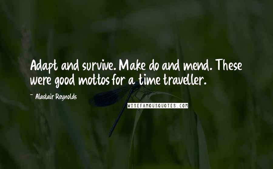 Alastair Reynolds quotes: Adapt and survive. Make do and mend. These were good mottos for a time traveller.