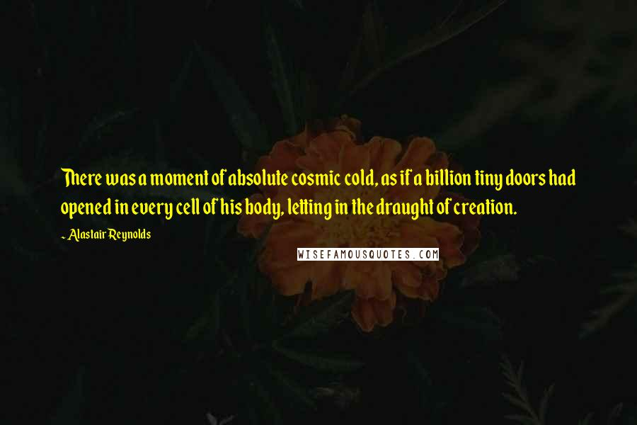 Alastair Reynolds quotes: There was a moment of absolute cosmic cold, as if a billion tiny doors had opened in every cell of his body, letting in the draught of creation.