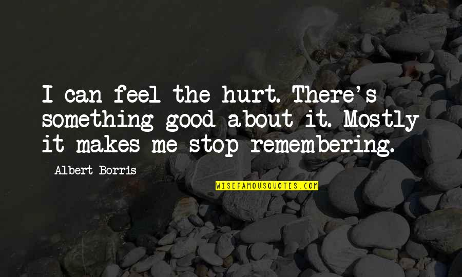 Albert Borris Quotes By Albert Borris: I can feel the hurt. There's something good