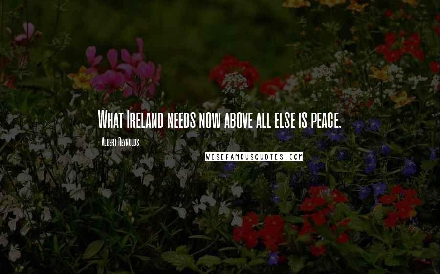Albert Reynolds quotes: What Ireland needs now above all else is peace.