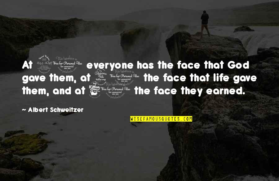 Albert Schweitzer Quotes By Albert Schweitzer: At 20 everyone has the face that God