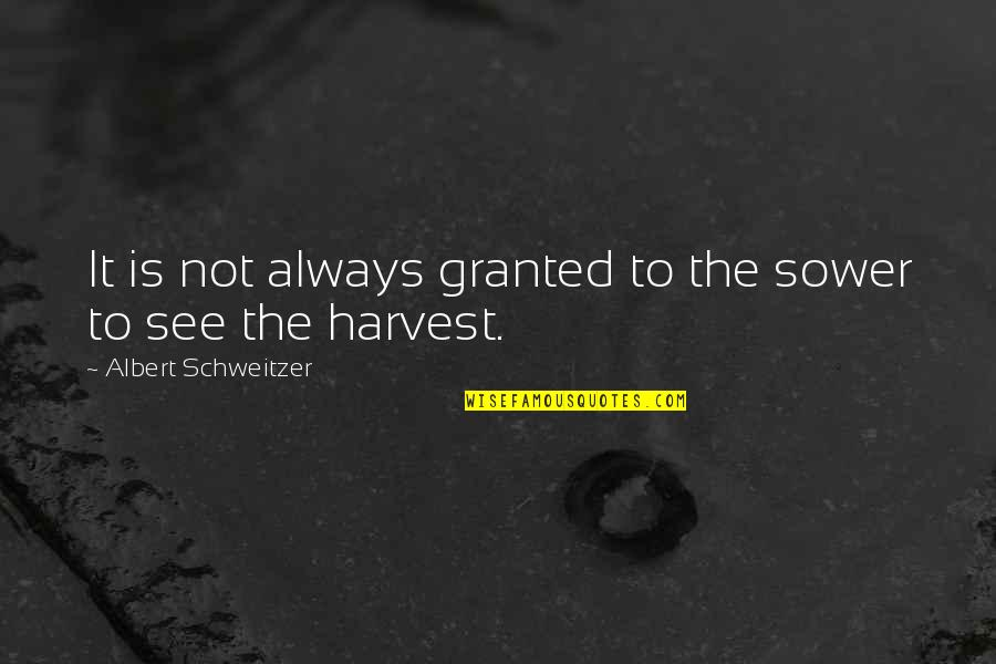 Albert Schweitzer Quotes By Albert Schweitzer: It is not always granted to the sower