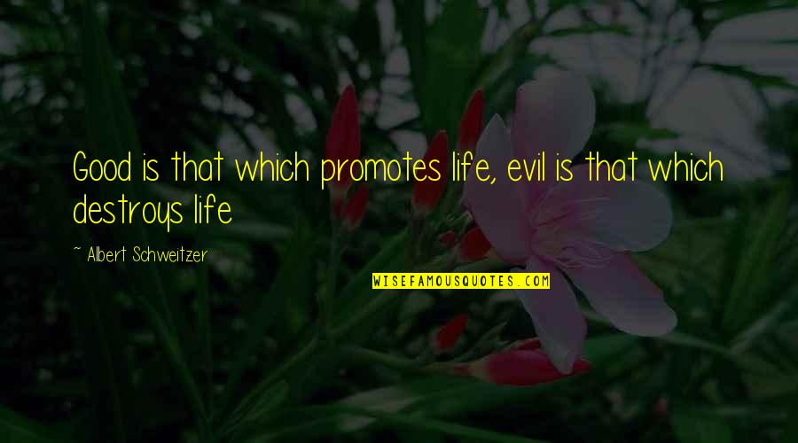 Albert Schweitzer Quotes By Albert Schweitzer: Good is that which promotes life, evil is