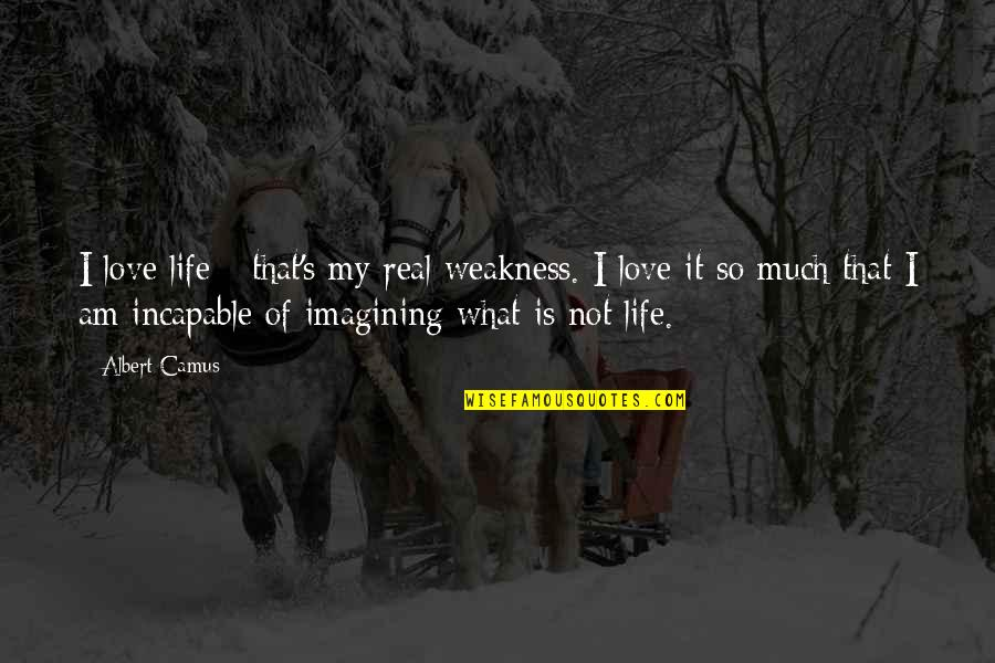Albert's Quotes By Albert Camus: I love life - that's my real weakness.
