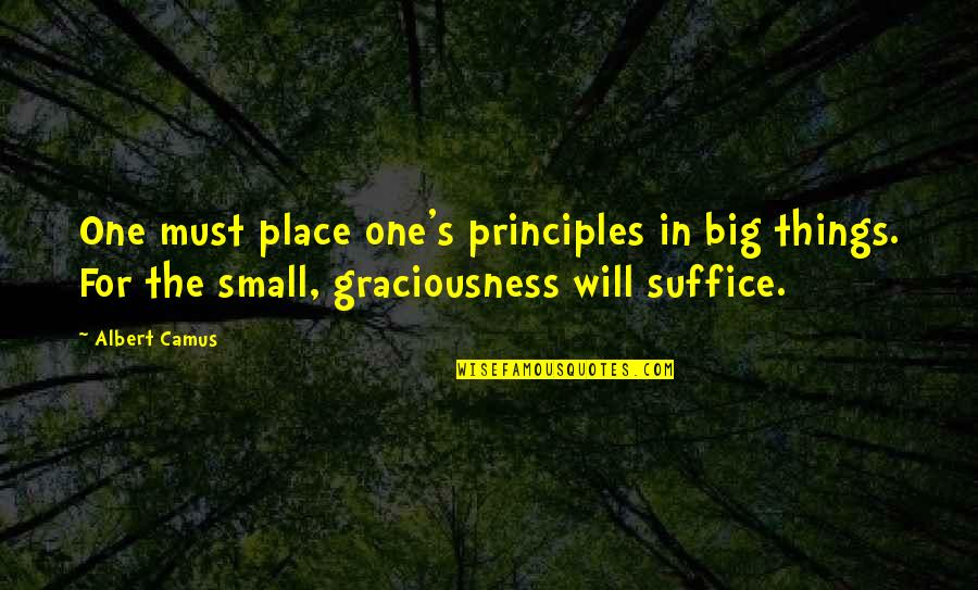 Albert's Quotes By Albert Camus: One must place one's principles in big things.