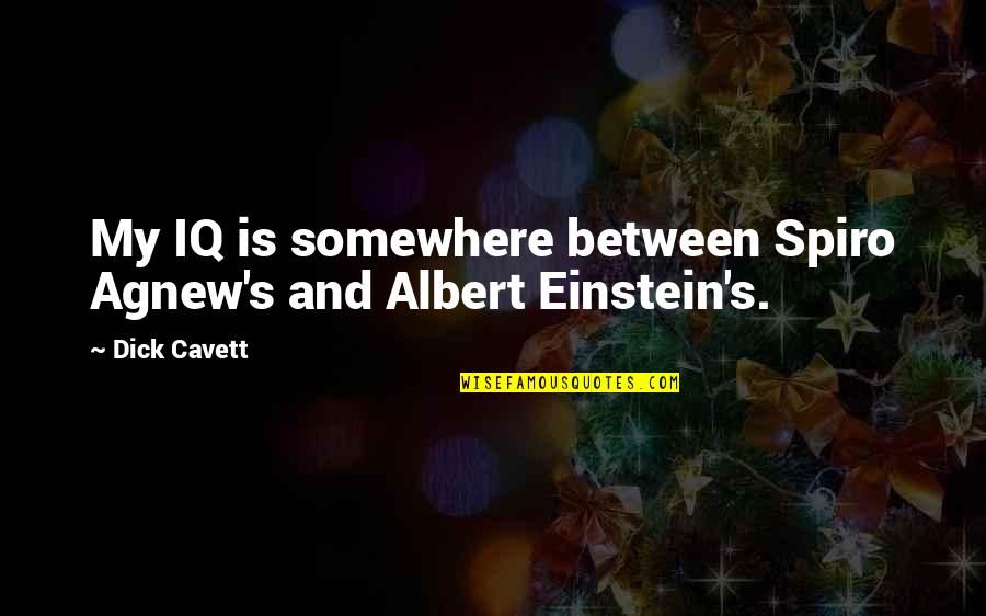 Albert's Quotes By Dick Cavett: My IQ is somewhere between Spiro Agnew's and