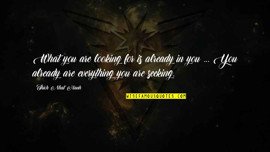 Albirich Quotes By Thich Nhat Hanh: What you are looking for is already in
