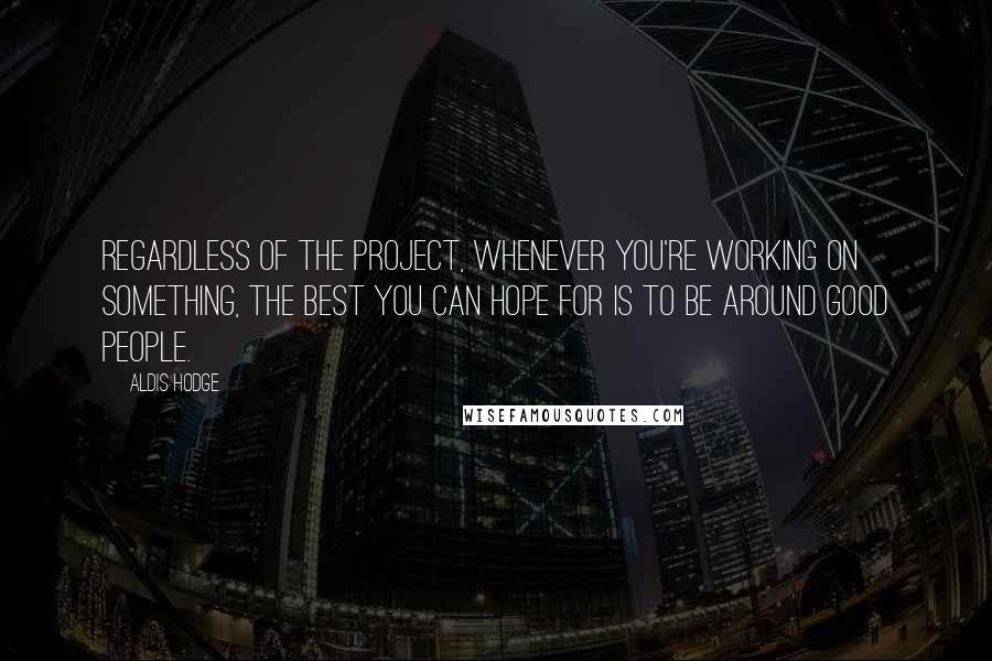 Aldis Hodge quotes: Regardless of the project, whenever you're working on something, the best you can hope for is to be around good people.