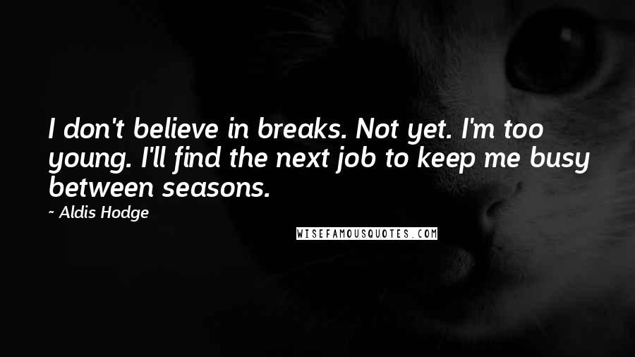 Aldis Hodge quotes: I don't believe in breaks. Not yet. I'm too young. I'll find the next job to keep me busy between seasons.