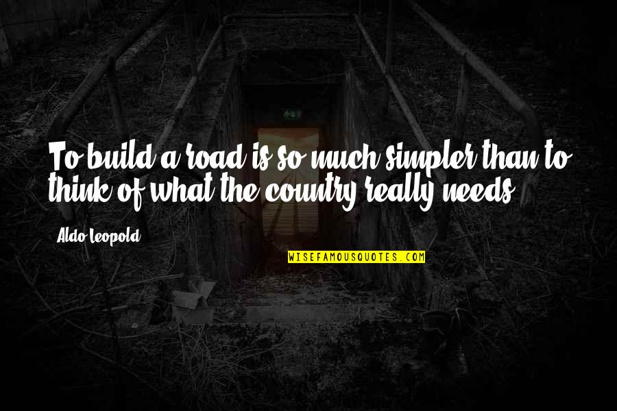 Aldo Leopold Quotes By Aldo Leopold: To build a road is so much simpler