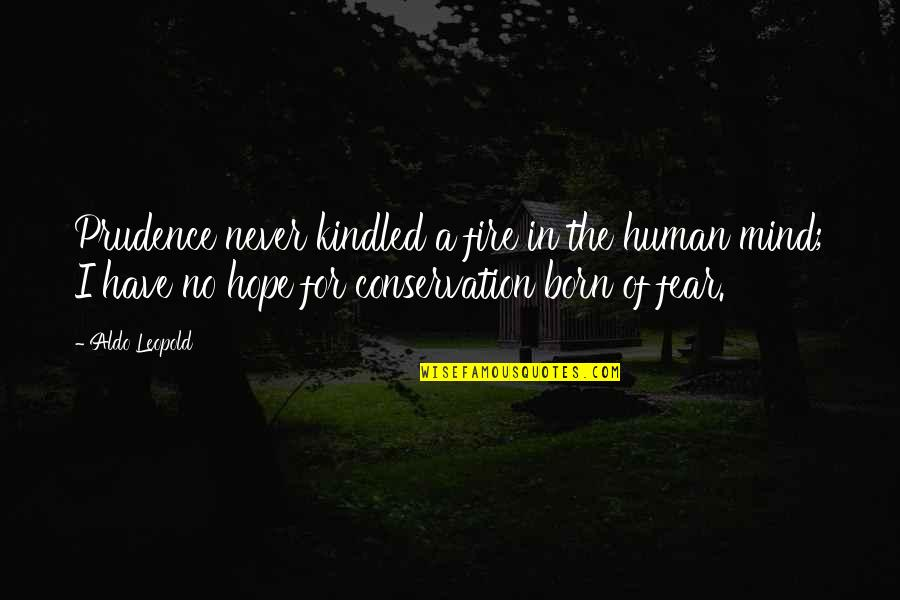 Aldo Leopold Quotes By Aldo Leopold: Prudence never kindled a fire in the human