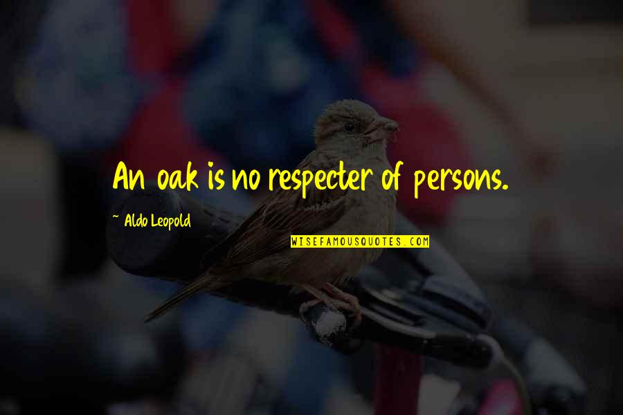Aldo Leopold Quotes By Aldo Leopold: An oak is no respecter of persons.
