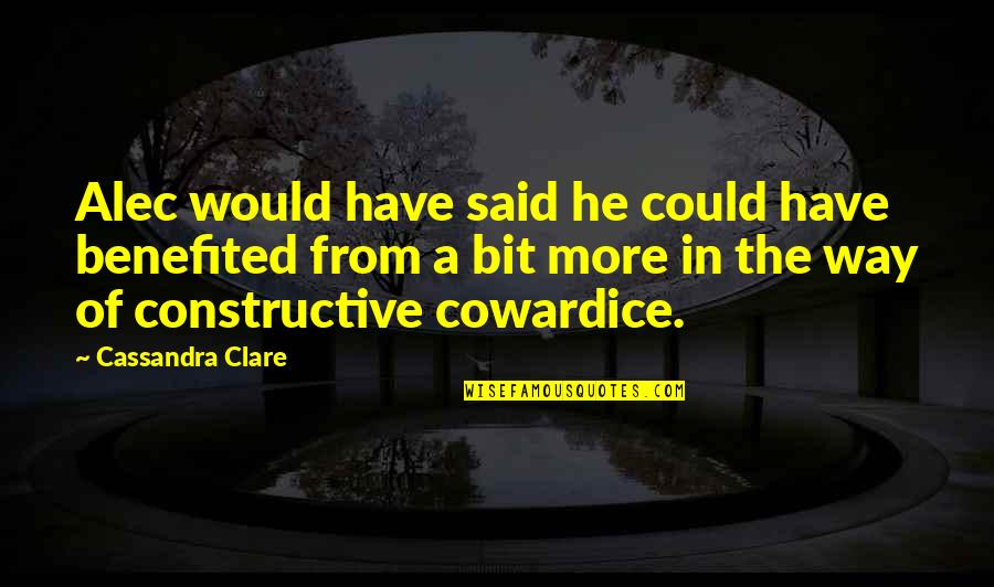 Alec And Jace Quotes By Cassandra Clare: Alec would have said he could have benefited