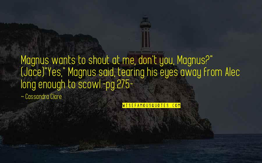 Alec And Jace Quotes By Cassandra Clare: Magnus wants to shout at me, don't you,