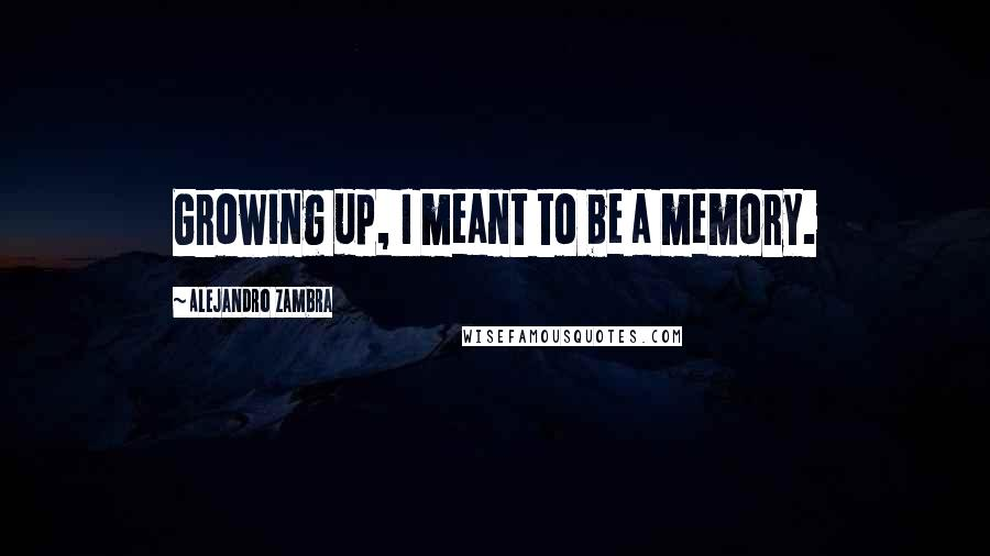 Alejandro Zambra quotes: Growing up, I meant to be a memory.