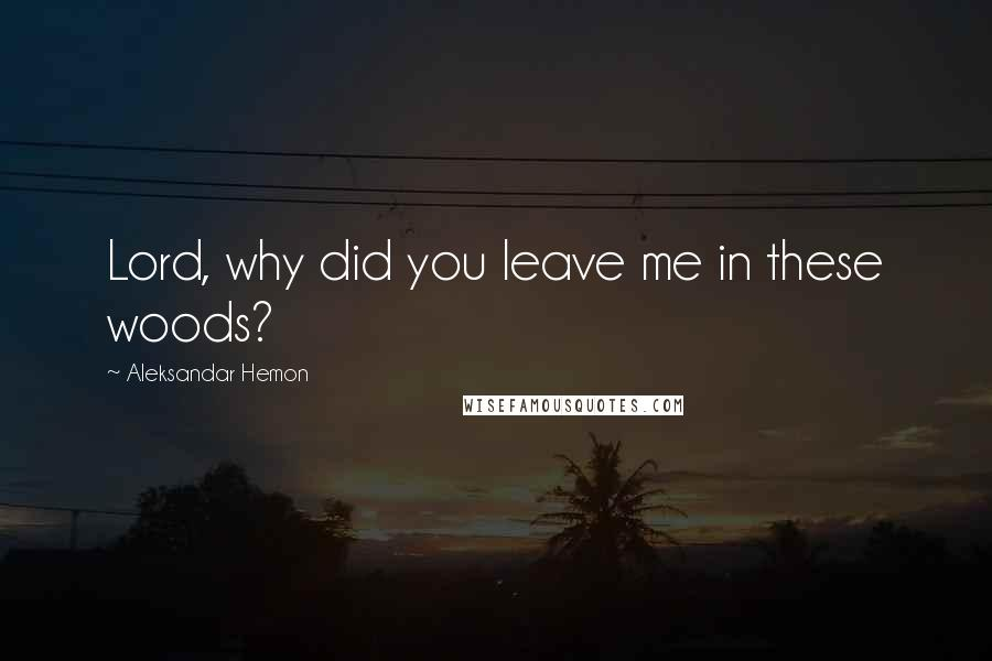 Aleksandar Hemon quotes: Lord, why did you leave me in these woods?