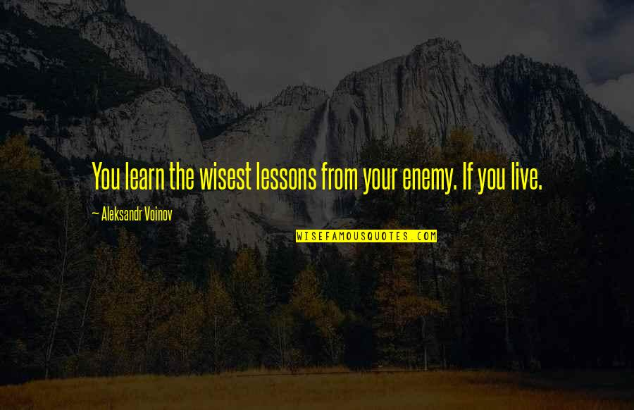 Aleksandr Quotes By Aleksandr Voinov: You learn the wisest lessons from your enemy.