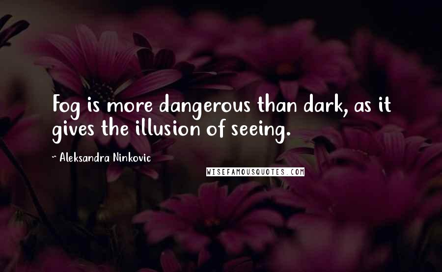 Aleksandra Ninkovic quotes: Fog is more dangerous than dark, as it gives the illusion of seeing.