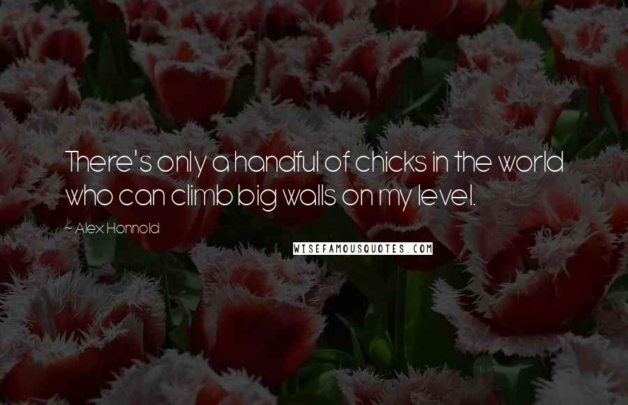 Alex Honnold quotes: There's only a handful of chicks in the world who can climb big walls on my level.