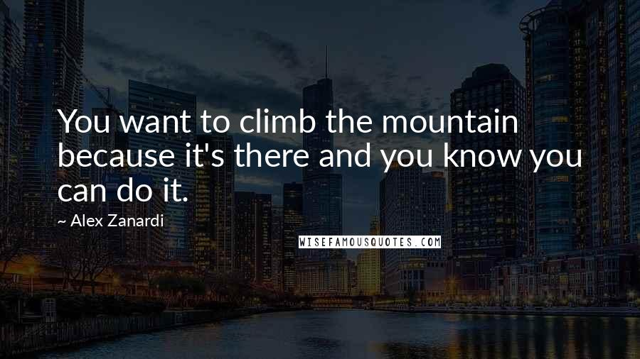 Alex Zanardi quotes: You want to climb the mountain because it's there and you know you can do it.