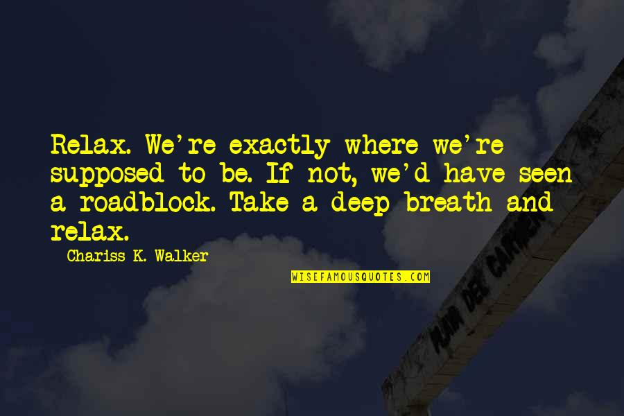 Alexa Ray Joel Quotes By Chariss K. Walker: Relax. We're exactly where we're supposed to be.