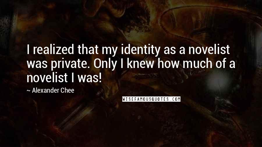 Alexander Chee quotes: I realized that my identity as a novelist was private. Only I knew how much of a novelist I was!