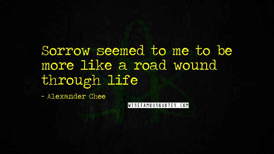 Alexander Chee quotes: Sorrow seemed to me to be more like a road wound through life