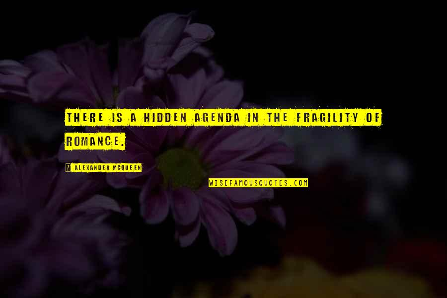 Alexander Mcqueen Quotes By Alexander McQueen: There is a hidden agenda in the fragility