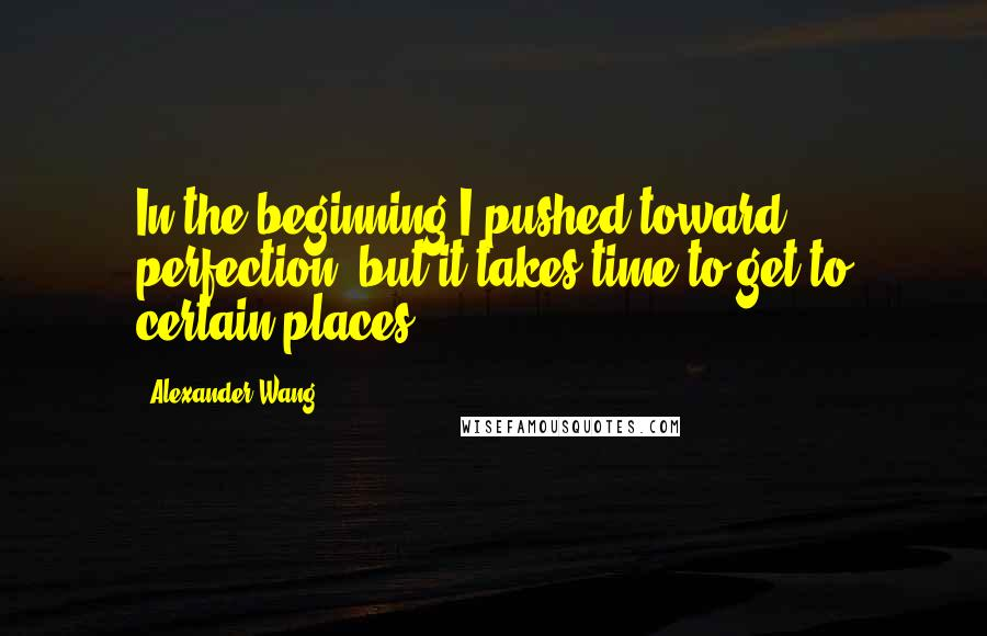 Alexander Wang quotes: In the beginning I pushed toward perfection, but it takes time to get to certain places.