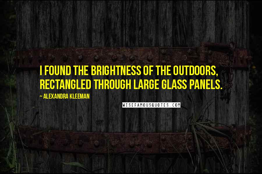 Alexandra Kleeman quotes: I found the brightness of the outdoors, rectangled through large glass panels.