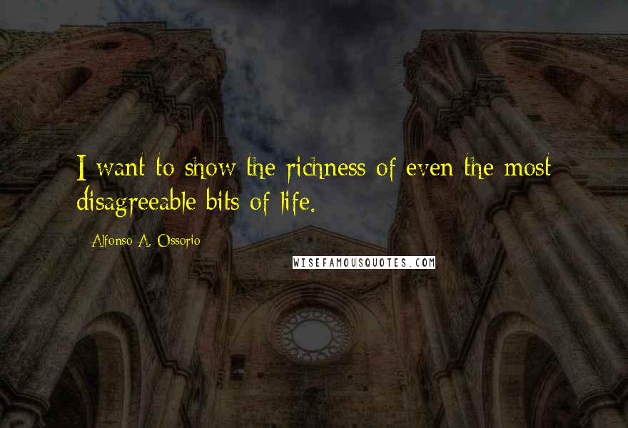Alfonso A. Ossorio quotes: I want to show the richness of even the most disagreeable bits of life.