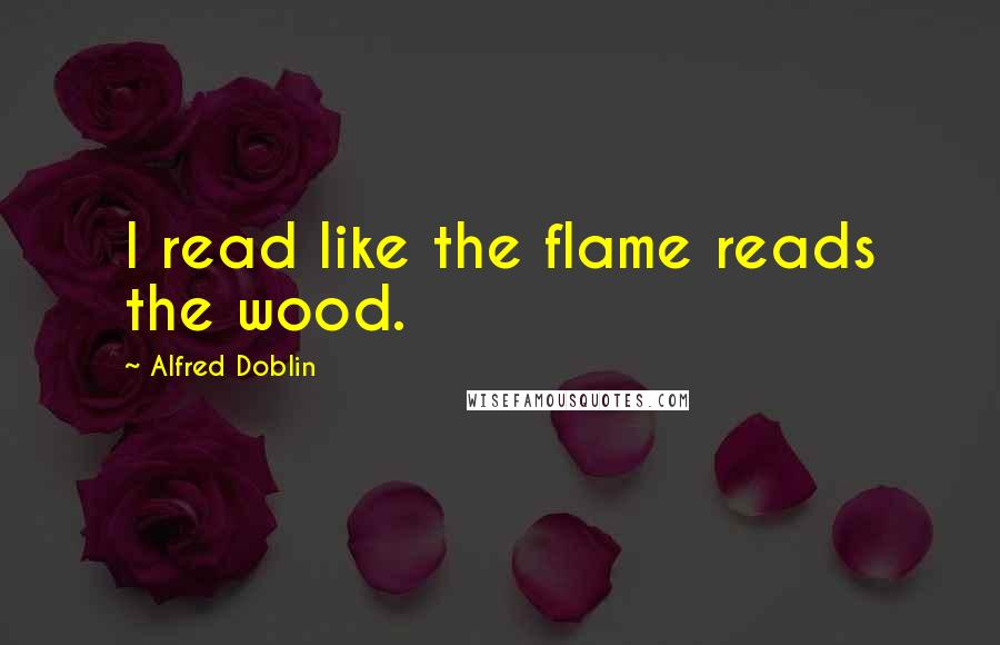 Alfred Doblin quotes: I read like the flame reads the wood.