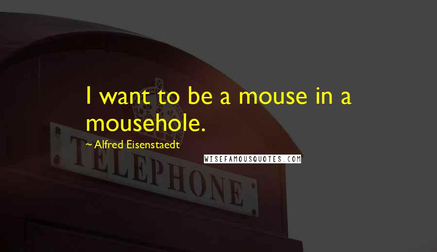 Alfred Eisenstaedt quotes: I want to be a mouse in a mousehole.