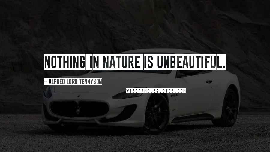 Alfred Lord Tennyson quotes: Nothing in Nature is unbeautiful.