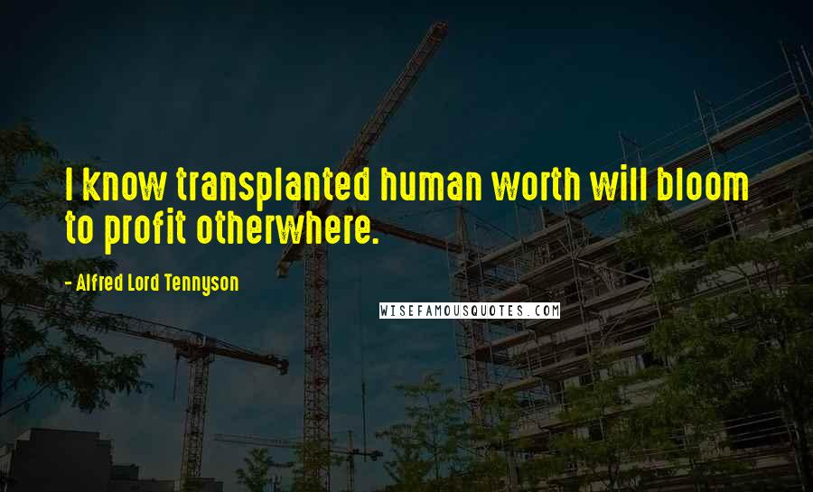 Alfred Lord Tennyson quotes: I know transplanted human worth will bloom to profit otherwhere.