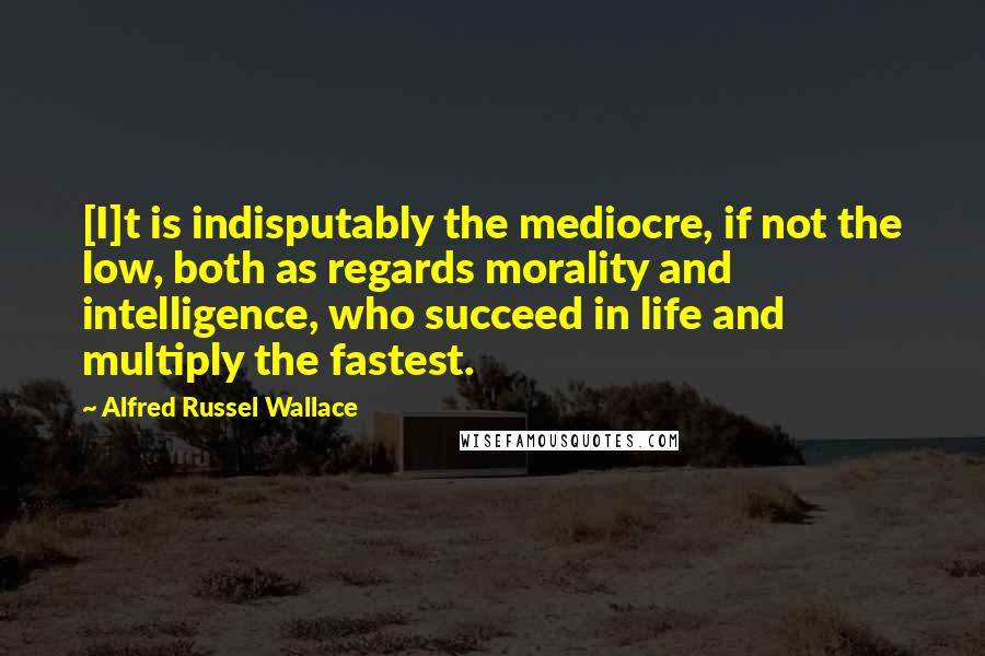 Alfred Russel Wallace quotes: [I]t is indisputably the mediocre, if not the low, both as regards morality and intelligence, who succeed in life and multiply the fastest.