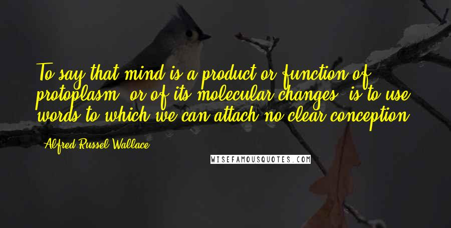 Alfred Russel Wallace quotes: To say that mind is a product or function of protoplasm, or of its molecular changes, is to use words to which we can attach no clear conception.