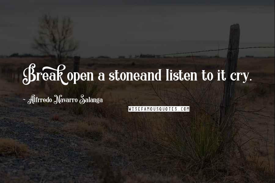 Alfrredo Navarro Salanga quotes: Break open a stoneand listen to it cry.