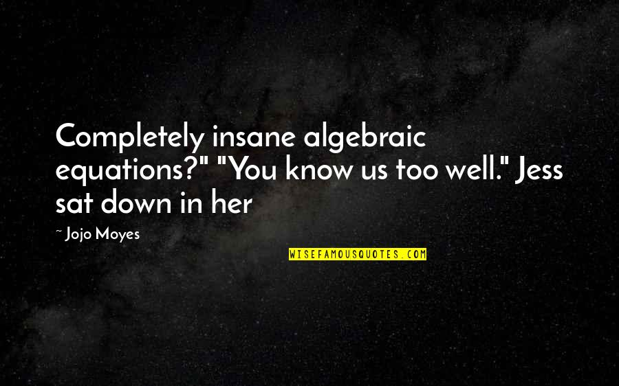 """Algebraic Quotes By Jojo Moyes: Completely insane algebraic equations?"""" """"You know us too"""
