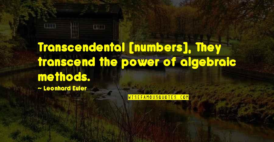 Algebraic Quotes By Leonhard Euler: Transcendental [numbers], They transcend the power of algebraic