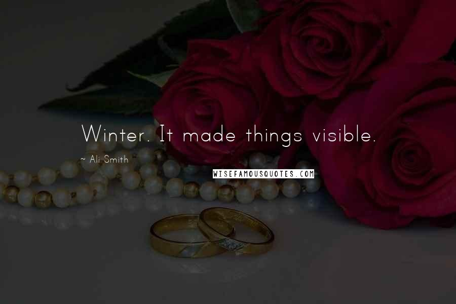 Ali Smith quotes: Winter. It made things visible.