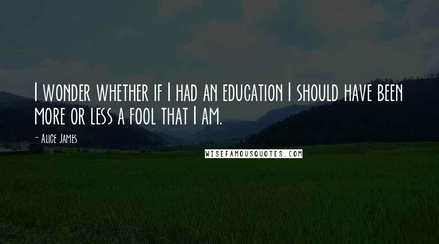Alice James quotes: I wonder whether if I had an education I should have been more or less a fool that I am.