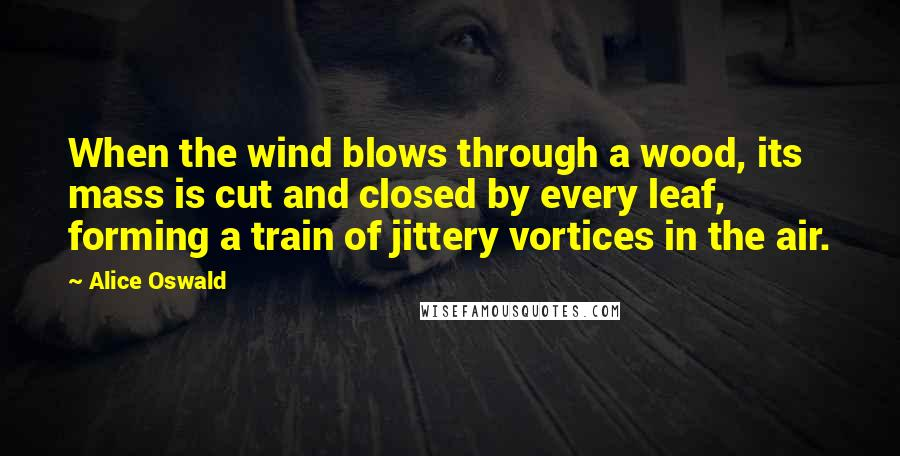 Alice Oswald quotes: When the wind blows through a wood, its mass is cut and closed by every leaf, forming a train of jittery vortices in the air.