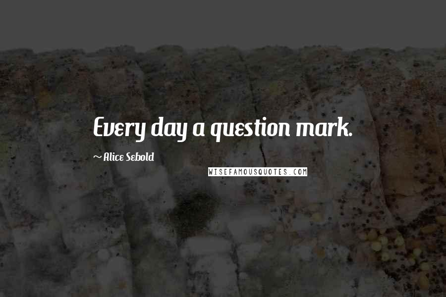 Alice Sebold quotes: Every day a question mark.