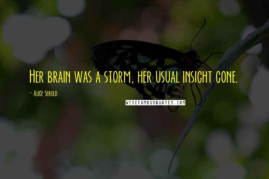 Alice Sebold quotes: Her brain was a storm, her usual insight gone.