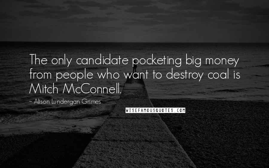 Alison Lundergan Grimes quotes: The only candidate pocketing big money from people who want to destroy coal is Mitch McConnell.