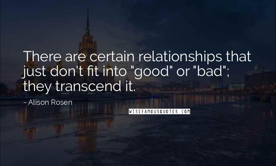 """Alison Rosen quotes: There are certain relationships that just don't fit into """"good"""" or """"bad""""; they transcend it."""