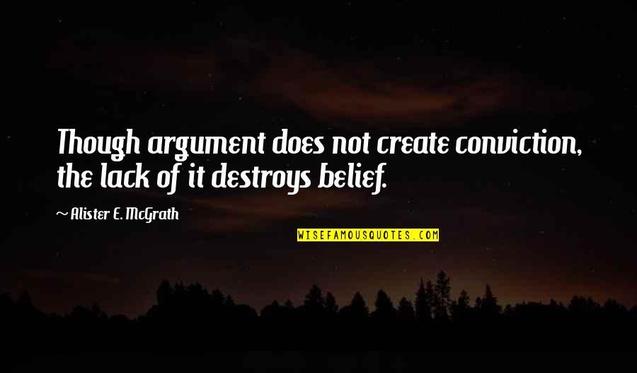 Alister Mcgrath Quotes By Alister E. McGrath: Though argument does not create conviction, the lack